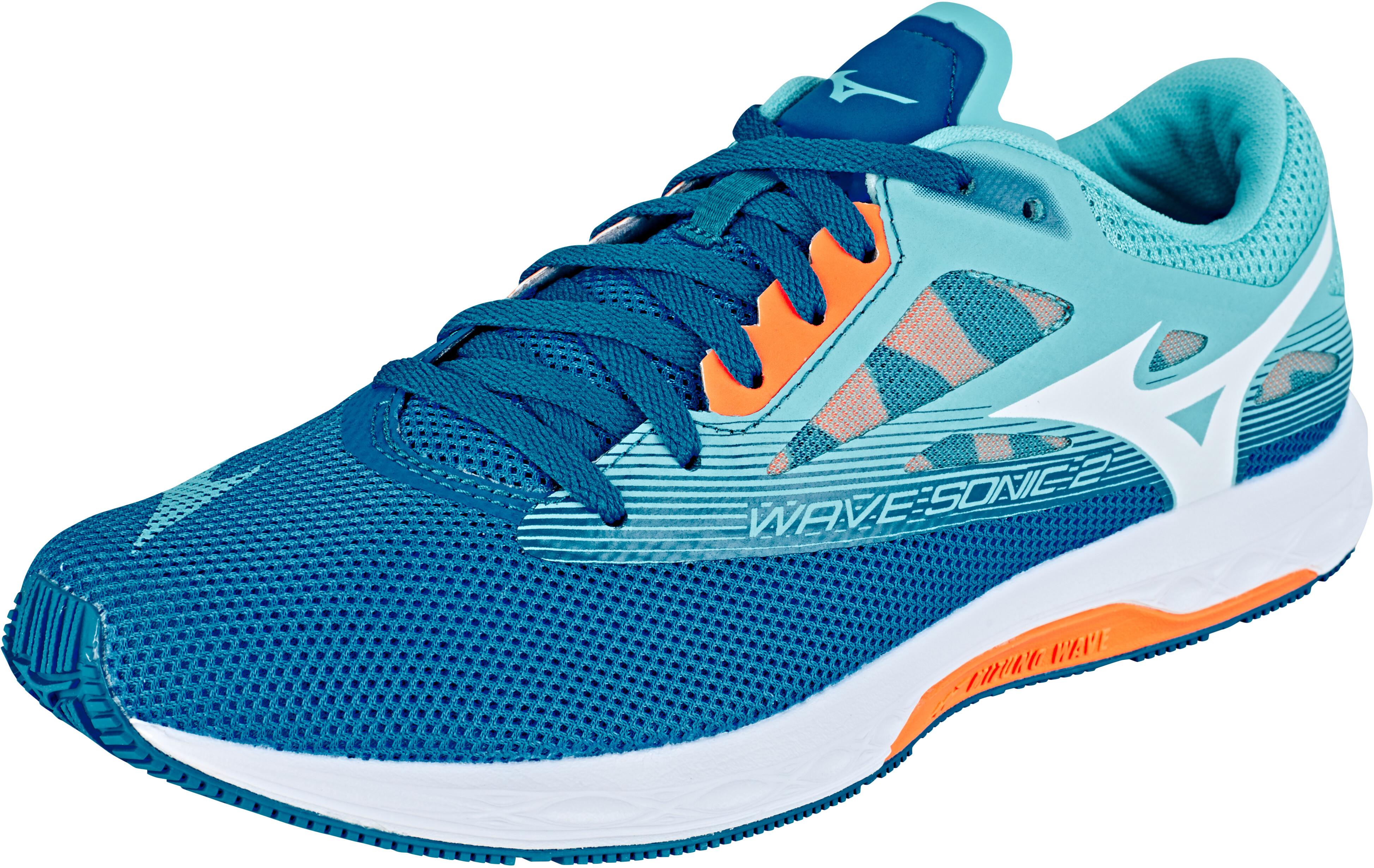 on sale a4e65 93eaf Mizuno Wave Sonic 2 - Chaussures running Femme - bleu blanc